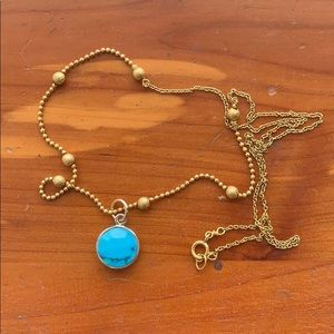 Dainty gold necklace turquoise